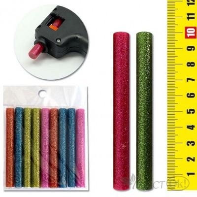 Стержень клеевой для термопистолета цветной глиттер,набор 9шт,1*10см 7569 J.Otten