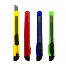Нож канцелярский малый, 9мм, фиксатор, ЭКО, ассорти 804(87) J.Otten