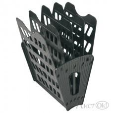 Лоток для бумаг веер склад., черный, 5 секции ЛТ91 Стамм