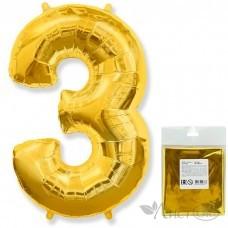 Шарик воздушный фольгированный Цифра. 3. золото в упаковке / Three (цена за 1шт) (И 40''/102 см) 901763O-P FLEX METAL