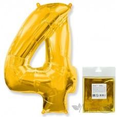 Шарик воздушный фольгированный Цифра. 4. золото в упаковке / Four (цена за 1шт) (И 40''/102 см) 901764O-P FLEX METAL