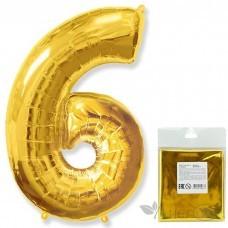 Шарик воздушный фольгированный Цифра. 6. золото в упаковке / Six (цена за 1шт) (И 40''/102 см) 901766O-P FLEX METAL