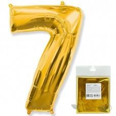 Шарик воздушный фольгированный Цифра. 7. золото в упаковке / Seven (цена за 1шт) (И 40''/102 см) 901767O-P FLEX METAL