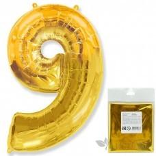 Шарик воздушный фольгированный Цифра. 9. золото в упаковке / Nine (цена за 1шт) (И 40''/102 см) 901769O-P FLEX METAL