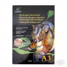 Бумага А3, 140 гр/м, блокнот 25 листов, цена за 1 лист черная, 0060,