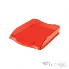 Лоток для бумаг горизонтальный 340х280х70 красный тонированный ML_34015 Hatber
