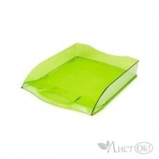 Лоток для бумаг горизонтальный 340х280х70 зеленый тонированный ML_34007 Hatber