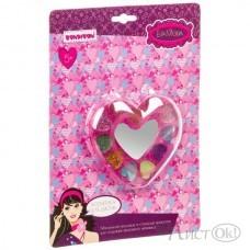 Детская косметика. Набор сердце с тенями для век с блёстками  и зеркальцем ВВ1776 (70577M3) Bondibon Eva Moda