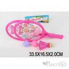 Бадминтон детский (2 ракетки, мяч, воланчик пластиковый)  в пакете S064 Tongde