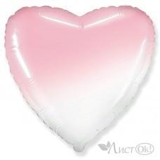 Шарик воздушный фольгированный Сердце Бело-розовый градиент 18