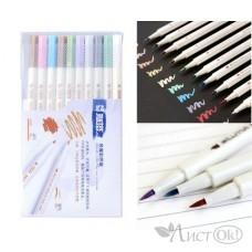 Набор Скетч-маркеров 10цв. Металлик BRUSH тонкие 1-2 мм, шестигранные STA6551BR-10