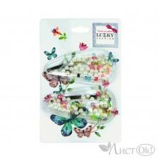 Набор из 2 заколок для волос клик-клак, насыпные (бусины, кристалы) Т18431 Lukky Fashion