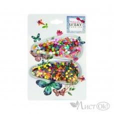 Набор из 2  заколок для волос клик-клак, насыпные (звездочки, сердечки, конфети) Т18432 Lukky Fashion