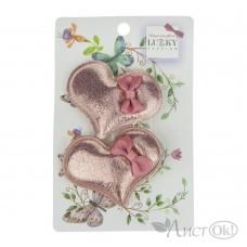 Набор из заколок-зажимов для волос Сердечки с бантиком, 2 шт Т18549 Lukky Fashion