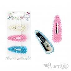Набор из 2 заколочек для волос клик-клак, жемчужинки 3 шт, 3 цвета (белый, розовый, бирюзовый) Т19584 Lukky Fashion