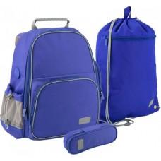 Комплект Рюкзак + пенал + сумка для обуви K 702 синий, БУТЫЛОЧКА SET_K19-720S-2 Kite