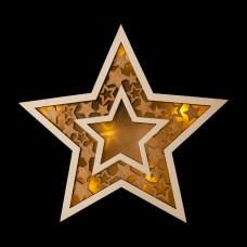 Фигурка деревянная с подсветкой Большая звезда,23х23х4,5см,2*AАA(не в компл.) НДУ-8393 Миленд