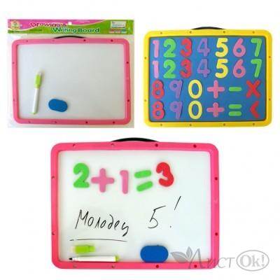 Доска детская DZ-005B(126YL) Магнитно-маркерная +цифры+маркер+губка,31х23см /1 /0 /96 /0