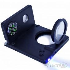 Лупа d-20мм+10мм, 3-х крат.увел, (8 в 1:компас,телескоп,2 ручки,лупа,лазер,led фонарь,ультрафиолет) 1800