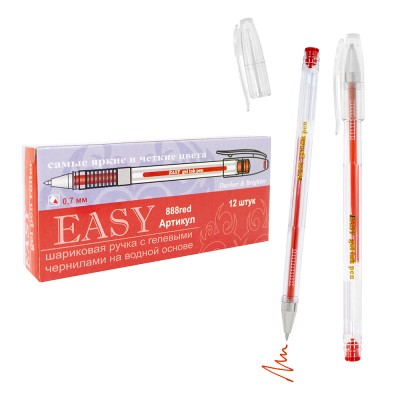 Ручка гелевая 0,7мм*139мм (аналог Crown Pilot) 888 EASY красная