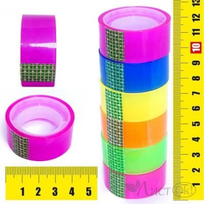 Клейкая лента упаковочная 1.8СМх7М,прозрачная цветная, цвет ассорти, пвх 4266