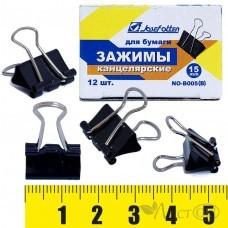 Зажим для бумаг 15мм, чёрный, 190мк В-006 J.Otten