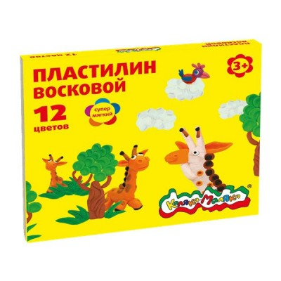 Пластилин 12цв. 180 гр. восковый ПВКМ12 Каляка-Маляка