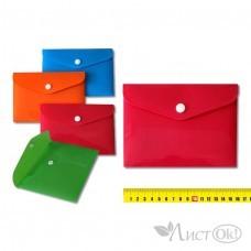 Папка-конверт с кнопкой 16х11см, пластик 350 мкм, ассорти 2874 J.O.