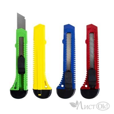 Нож канцелярский большой, 18мм, фиксатор, ЭКО, ассорти 87(802) J.Otten