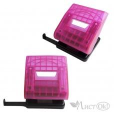 Дырокол 6348 розовый прозрачный, на 30 листов, на 2 отв, с лин J.Otten /6 /0 /36 /0
