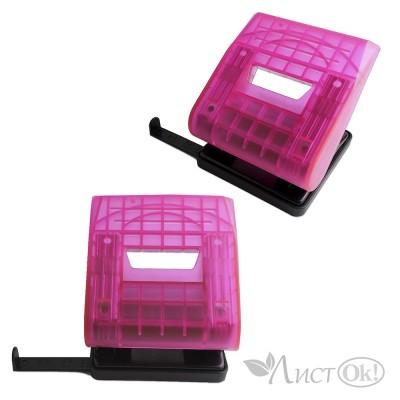 Дырокол до 30 листов, на 2 отверстия, с линейкой, прозрачный, розовый 6348 J.Otten