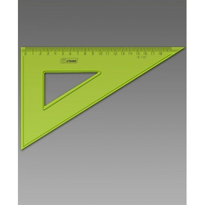 Треугольник 30°х18см пластик NEON Cristal 100шт ассорти ТК470 Стамм