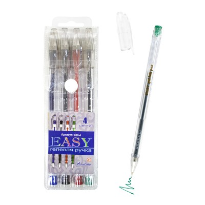 Ручки гелевые EASY 4 цв, европ 888-4 J.Otten