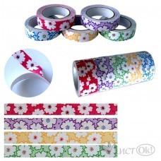 Клейкая лента декор. 5073 Цветы крупные, 15мм*4м, ткань х/б  /10 /0 /1000