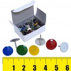 Кнопки канцелярские 50шт. цветные, металл, белая картонная коробка ТР203-ЭКО