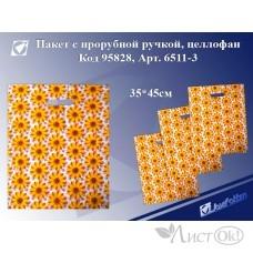 Пакет с прорубной ручкой Желтые цветы, 35*45см, целлофан 6511-3