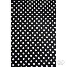 Фоамиран лист 40*60 Белый горох на черн. фоне DOT-CL-007 Волшебный мастер