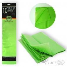 Бумага подел. Тишью Зеленая,  50*66см, 10 листов ТВ-14-10